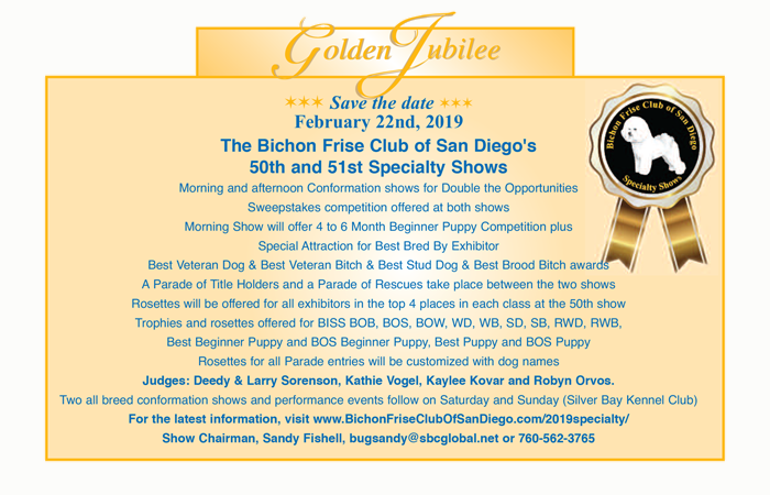 Bichon Frise Club of San Diego Golden Jubilee Specialty Shows